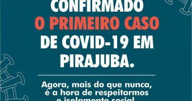 PRIMEIRO CASO DE COVID EM PIRAJUBA