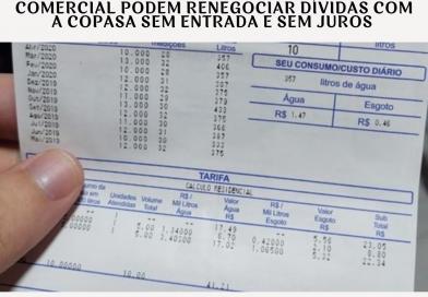 Clientes da tarifa social e da categoria comercial podem renegociar dívidas com a Copasa sem entrada e sem juros