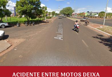 Acidente entre motos deixa condutores feridos na avenida JK